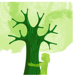 Tree hug children nature love concept vector