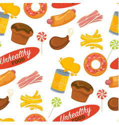 unhealthy food sweets and meat donut and cakes vector image