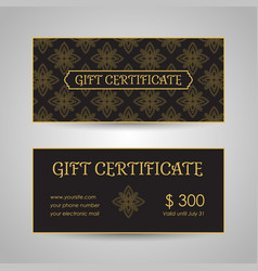 vintage arabic style gift certificate template vector image