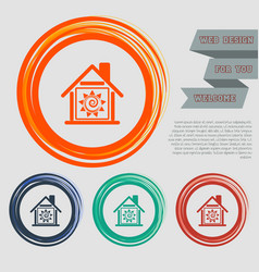 warm home icon on the red blue green orange vector image