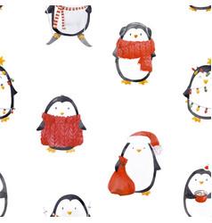 watercolor christmas bapenguin pattern vector image