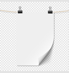 white empty sheet paper with shadow on rope vector image