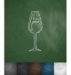 wineglass icon Hand drawn vector image