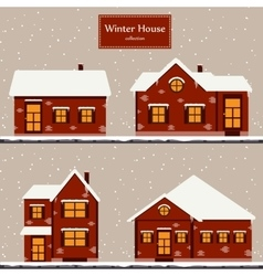 Winter houses collection vector