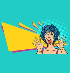 Woman panic fear surprise gesture girls 80s vector