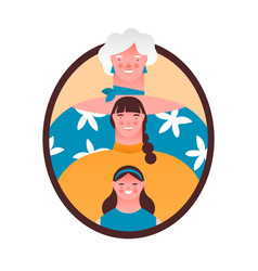 women family member photo frame isolated vector image