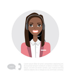 Young black african american lady with headset vector