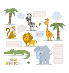 Zoo animal set vector image