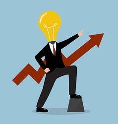 Businessman with a light bulb head and graph up vector image vector image