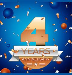 Four years anniversary celebration design vector