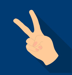 Peace symbol gesturehippy single icon in flat vector