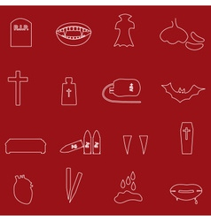 red and white outline vampire icons eps10 vector image vector image
