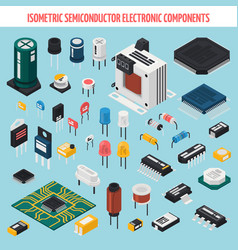 semiconductor electronic components isometric icon vector image