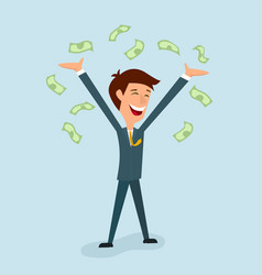 a businessman is delighted with his hands up vector image