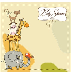 baby shower card with funny pyramid of animals vector image vector image