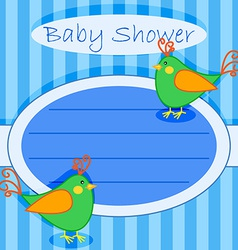 Bird baby shower invitation-boy vector image vector image
