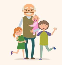 Grandfather with her grandchildren vector image vector image