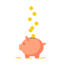 Pig piggy bank with coins vector