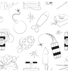 Set of bombs Explosives pattern vector image