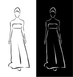 Models on a runway in designer outfit vector image vector image