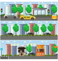 set of street concept design elements flat vector image
