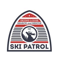 Ski patrol isolated label vector