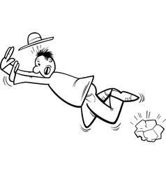 Stumbling man coloring page vector