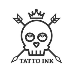 tattoo ink of black skull isolated on white vector image
