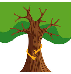 tree hug for nature love concept vector image