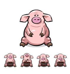 Ute cartoon pigs set vector