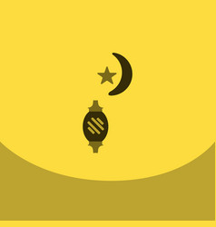 flat icon on square arabic latern with moon vector image vector image