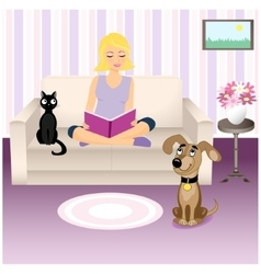 Girl and pets vector image vector image
