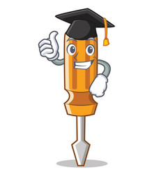 graduation screwdriver character cartoon style vector image vector image