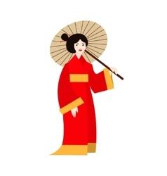 Japanese Geisha Woman in Kimono vector image vector image