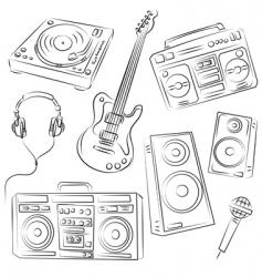 music set sketch vector image