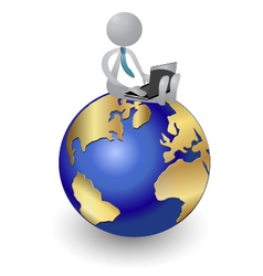 Person working on the world logo design vector