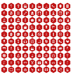100 beauty and makeup icons hexagon red vector
