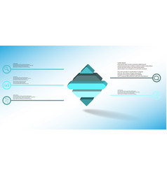3d infographic template with embossed rhomb vector