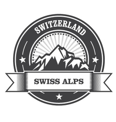 Alps Mountains stamp - Switzerland label vector