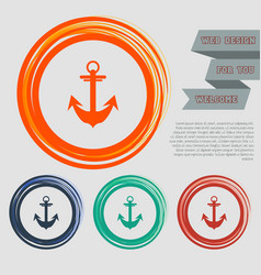 anchor icon on red blue green orange buttons vector image