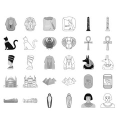 Ancient egypt monochromeoutline icons in set vector