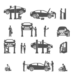 Auto mechanic black icons set vector