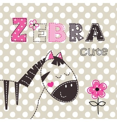 Background with cute zebra vector image