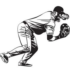 baseball player playing vector image