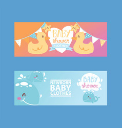 Bashower girl and boy clothes vector