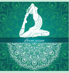 Beautiful woman in yoga pose on a ethnic vector
