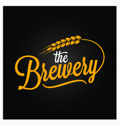 Beer vintage lettering brewery logo with wheat vector