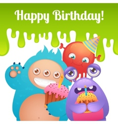 birthday monsters card vector image