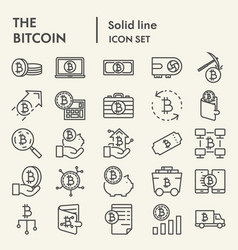 bitcoin line icon set cryptocurrency symbols vector image