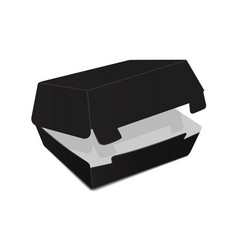 black open food box packaging for burger lunch vector image